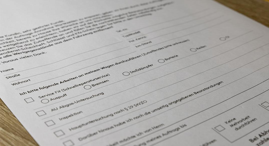 Auftragsannahme Fragebogen